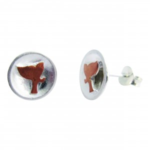 Fly to the Moon - Sterling Silver and Rose Gold Stud Earrings