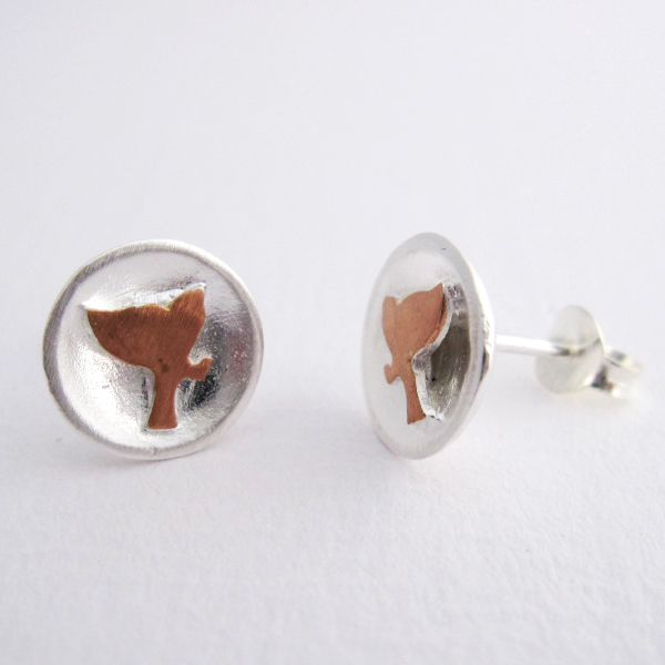 Fly to the Moon - Sterling Silver and Rose Gold Stud Earring