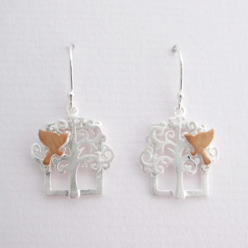 On A Limb - Sterling Silver and Rose Gold Earrings