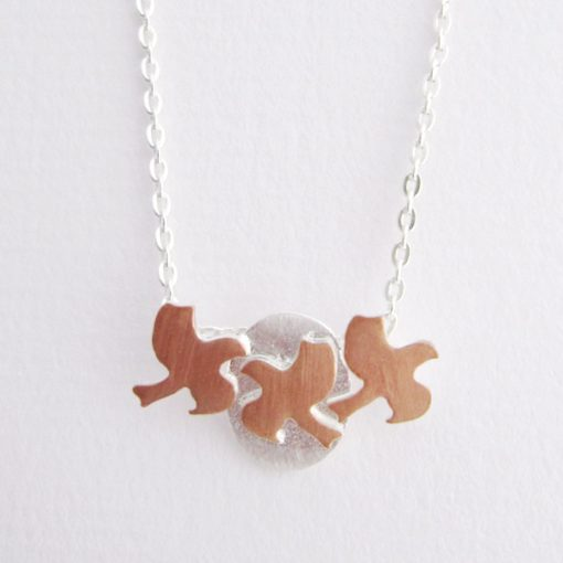 Flying South - Sterling Silver and Rose Gold Pendant