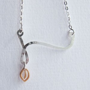 Swirl - Sterling Silver and Rose Gold Pendant