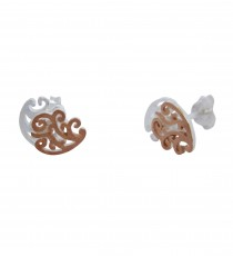 Inception - Sterling Silver and Rose Gold Stud Earrings