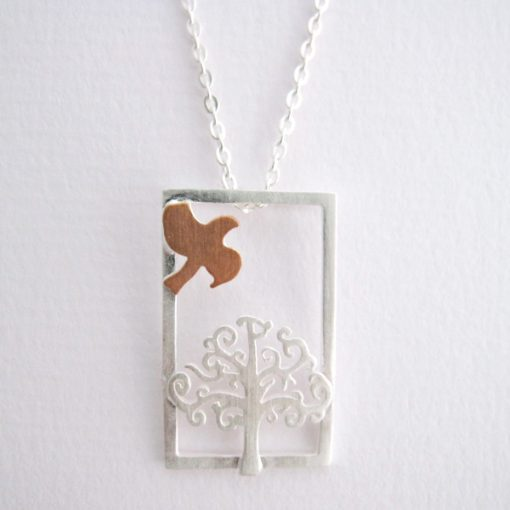 Enchanted Forest - Sterling Silver and Rose Gold Pendant