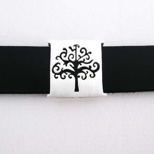 Branching Out - Sterling Silver and Leather Cuff Bracelet