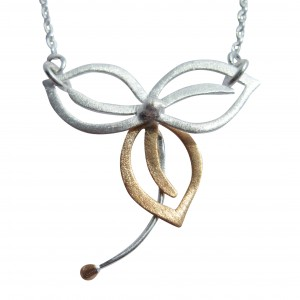 Three Leaf - Sterling Silver and Rose Gold Pendant