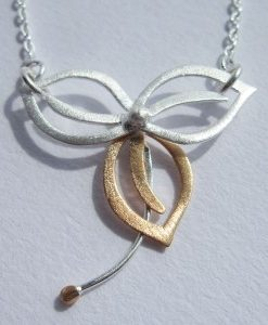 Three-Leaf - Sterling Silver and Rose Gold Pendant