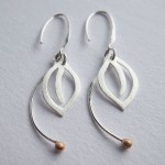 Single Leaf - Sterling Silver and Rose Gold Earrings